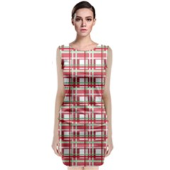 Red Plaid Pattern Classic Sleeveless Midi Dress by Valentinaart