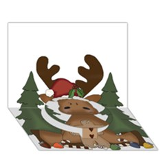 Christmas Moose Circle Bottom 3d Greeting Card (7x5) by Onesevenart