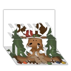 Christmas Moose You Rock 3d Greeting Card (7x5) by Onesevenart