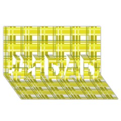 Yellow Plaid Pattern #1 Dad 3d Greeting Card (8x4) by Valentinaart