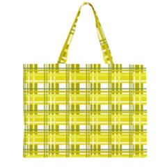 Yellow Plaid Pattern Zipper Large Tote Bag by Valentinaart