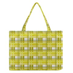Yellow Plaid Pattern Medium Zipper Tote Bag by Valentinaart