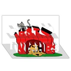 Dog Toy Clip Art Clipart Panda Best Wish 3d Greeting Card (8x4) by Onesevenart