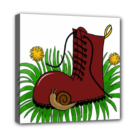 Boot In The Grass Mini Canvas 8  X 8  by Valentinaart
