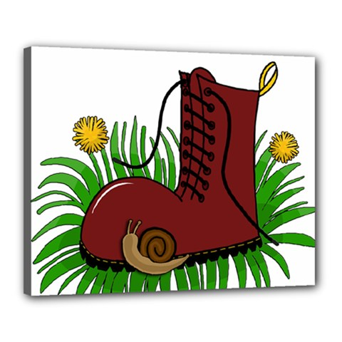 Boot In The Grass Canvas 20  X 16  by Valentinaart