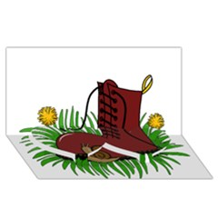 Boot In The Grass Twin Heart Bottom 3d Greeting Card (8x4) by Valentinaart