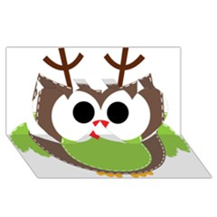 Clip Art Animals Owl Twin Hearts 3d Greeting Card (8x4) by Onesevenart