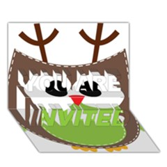 Clip Art Animals Owl You Are Invited 3d Greeting Card (7x5) by Onesevenart