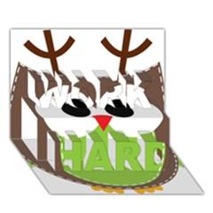 Clip Art Animals Owl Work Hard 3d Greeting Card (7x5) by Onesevenart