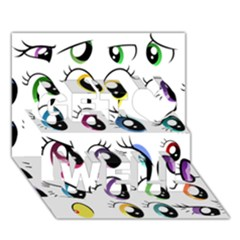 Eyes  Pattern Get Well 3d Greeting Card (7x5) by Onesevenart
