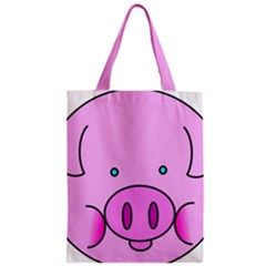 Pink Pig Christmas Xmas Stuffed Animal Zipper Classic Tote Bag by Onesevenart