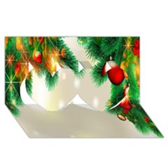 Ornament Christmast Pattern Twin Hearts 3d Greeting Card (8x4) by Onesevenart