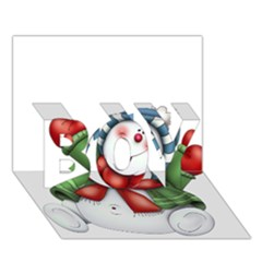 Snowman With Scarf Boy 3d Greeting Card (7x5) by Onesevenart