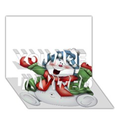 Snowman With Scarf You Are Invited 3d Greeting Card (7x5) by Onesevenart