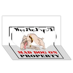 Watch Out Mad Dog On Property Twin Hearts 3d Greeting Card (8x4) by Onesevenart