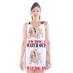 Watch Out Mad Dog On Property Scoop Neck Skater Dress by Onesevenart