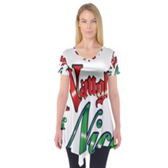 Vintage Christmas Naughty Or Nice Short Sleeve Tunic  by Onesevenart