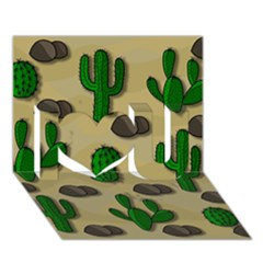Cactuses I Love You 3d Greeting Card (7x5) by Valentinaart