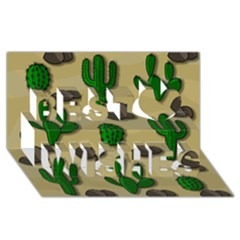 Cactuses Best Wish 3d Greeting Card (8x4) by Valentinaart
