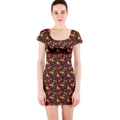 Exotic Colorful Flower Pattern  Short Sleeve Bodycon Dress by Brittlevirginclothing