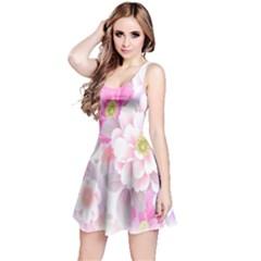 Cute Pink Flower Pattern  Reversible Sleeveless Dress by Brittlevirginclothing