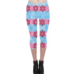 Pink Snowflakes Pattern Capri Leggings  by Brittlevirginclothing