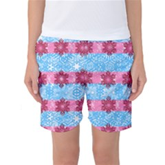 Pink Snowflakes Pattern Women s Basketball Shorts by Brittlevirginclothing