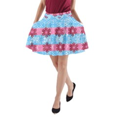 Pink Snowflakes Pattern A Line Pocket Skirt by Brittlevirginclothing