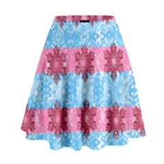 Pink Snowflakes Pattern High Waist Skirt by Brittlevirginclothing