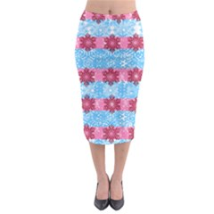 Pink Snowflakes Pattern Midi Pencil Skirt by Brittlevirginclothing