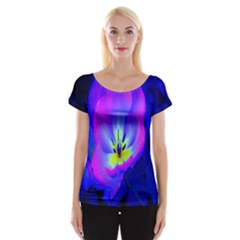 Blue And Purple Flowers Women s Cap Sleeve Top by AnjaniArt