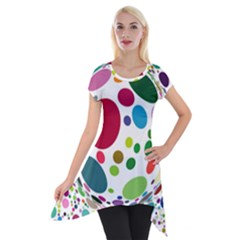 Color Balls Short Sleeve Side Drop Tunic by AnjaniArt