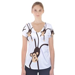 Colorful Animal Monkey Short Sleeve Front Detail Top by AnjaniArt