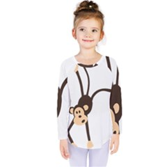 Colorful Animal Monkey Kids  Long Sleeve Tee