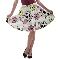 Cow Animals A Line Skater Skirt by AnjaniArt