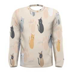 Cute Cat Meow Animals Men s Long Sleeve Tee by AnjaniArt
