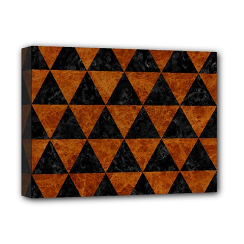Triangle3 Black Marble & Brown Marble Deluxe Canvas 16  X 12  (stretched)  by trendistuff