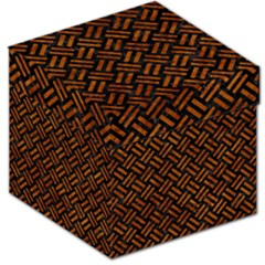 Woven2 Black Marble & Brown Marble Storage Stool 12  by trendistuff