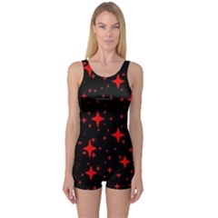 Bright Red Stars In Space One Piece Boyleg Swimsuit