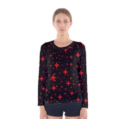 Bright Red Stars In Space Women s Long Sleeve Tee by Costasonlineshop