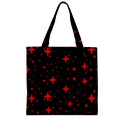 Bright Red Stars In Space Zipper Grocery Tote Bag by Costasonlineshop