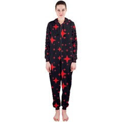 Bright Red Stars In Space Hooded Jumpsuit (ladies)