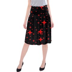 Bright Red Stars In Space Midi Beach Skirt by Costasonlineshop