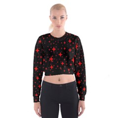 Bright Red Stars In Space Women s Cropped Sweatshirt