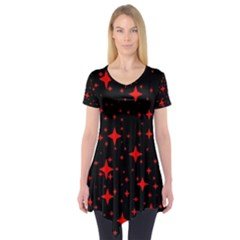Bright Red Stars In Space Short Sleeve Tunic  by Costasonlineshop