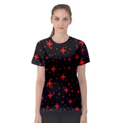 Bright Red Stars In Space Women s Sport Mesh Tee by Costasonlineshop