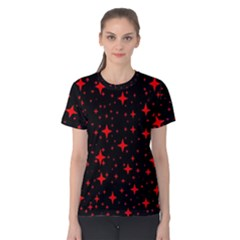 Bright Red Stars In Space Women s Cotton Tee by Costasonlineshop