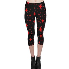 Bright Red Stars In Space Capri Leggings