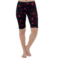 Bright Red Stars In Space Cropped Leggings