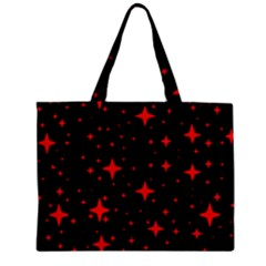 Bright Red Stars In Space Zipper Mini Tote Bag by Costasonlineshop